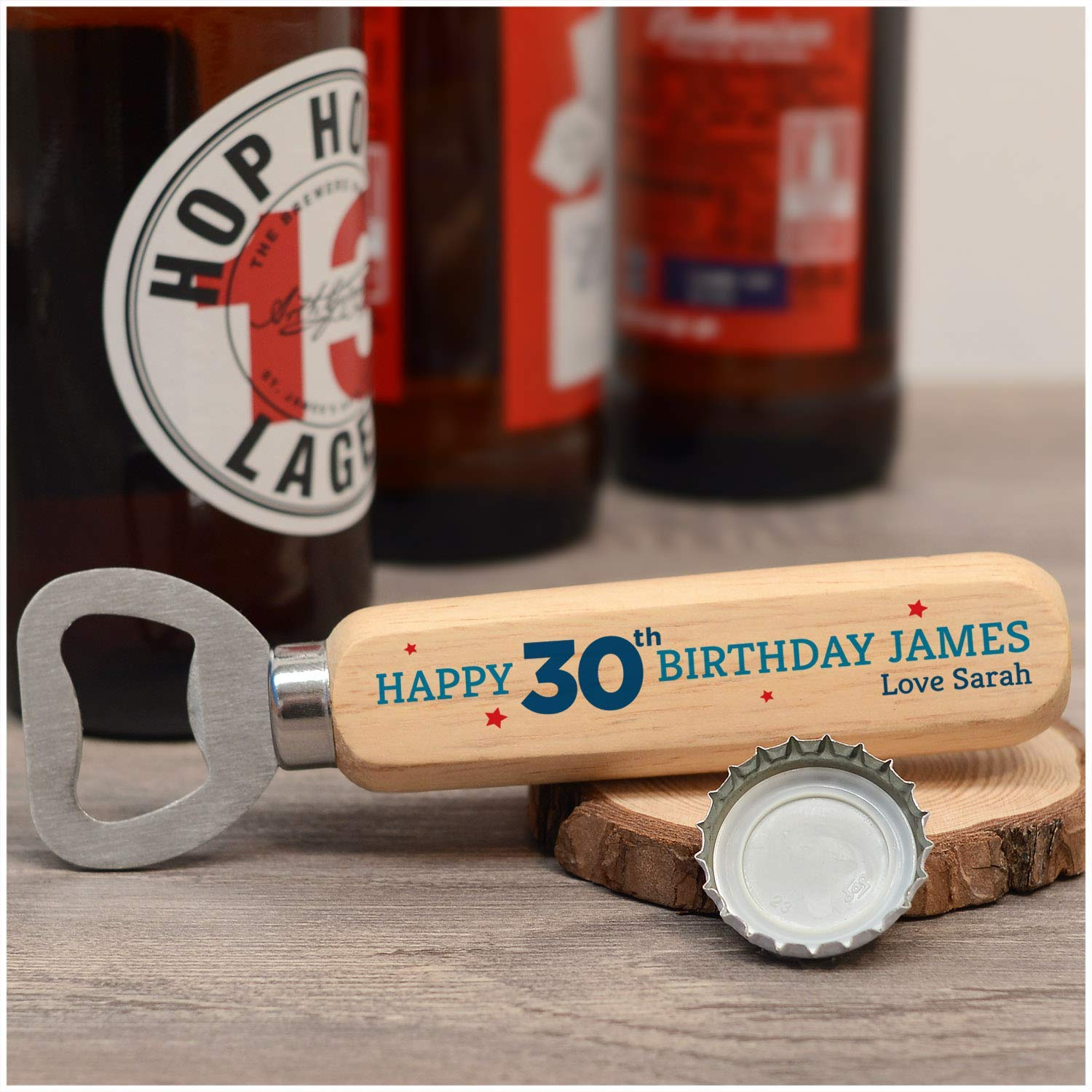 Personalised 18th 21st 30th 40th 50th 60th Birthday Gifts For Men Son Dad Grandad Brother Uncle Any Age And Name Wooden Beer Drinks Bottle Opener Happy 30th Birthday Gifts