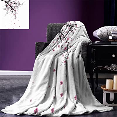 smallbeefly Nature Throw Blanket Cherry Blossoming Falling Petals Flowers Springtime Park Simple Illustration Print Warm Microfiber All Season Blanket for Bed or Couch Pink Black: Kitchen & Dining