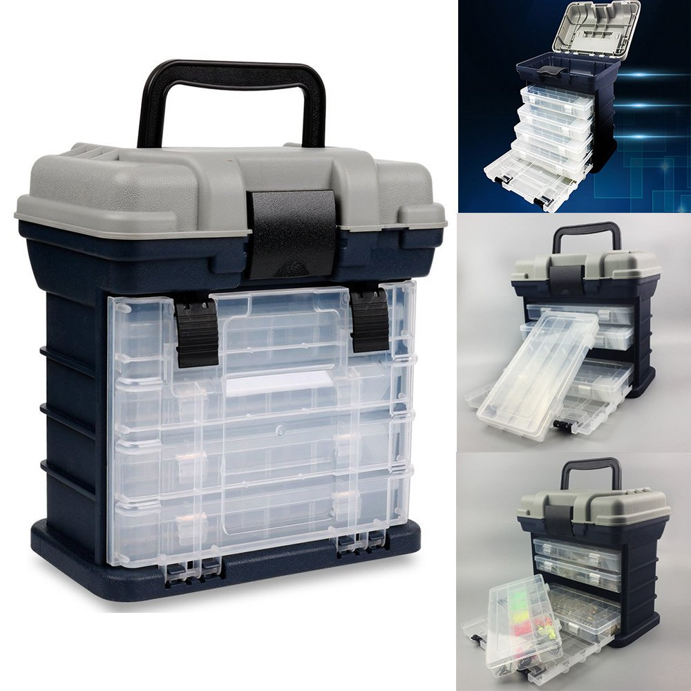 Portable Handheld Fishing Tackle Box 4 Layers Bulk Drawer Organizer Tool Fishing Lures Hooks Accessories Storage Tray Bait Case with Handle Utility Box by Unknown (Image #5)
