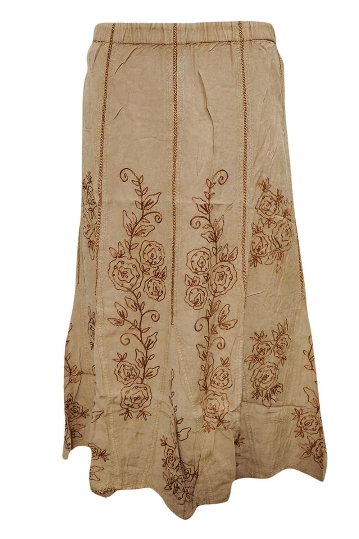 Mogul Interior Women's Vintage Skirt Beige Floral Embroidered Bohemian Fashion Skirt