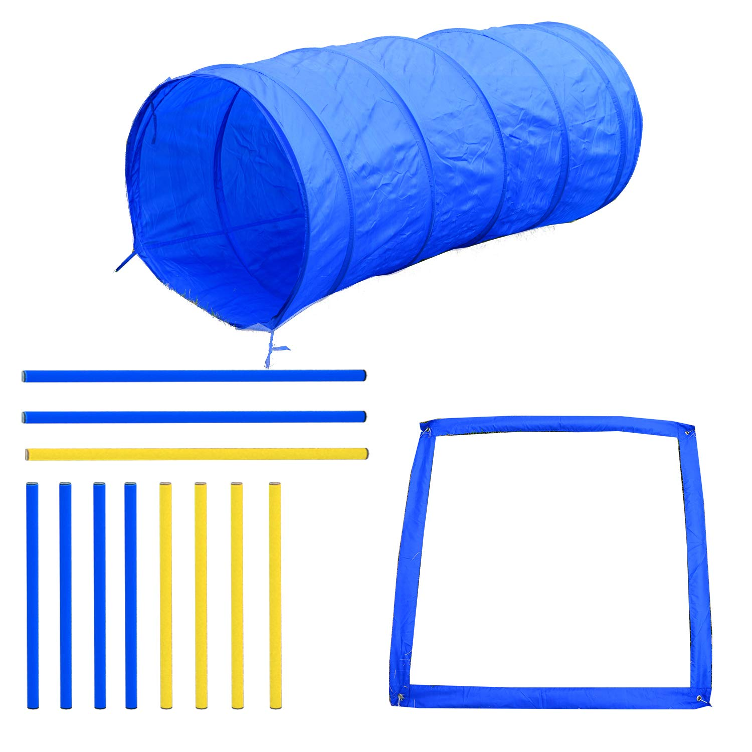 PawHut 4PC Obstacle Dog Agility Training Course Kit Backyard Competitive Equipment- Blue/Yellow by PawHut