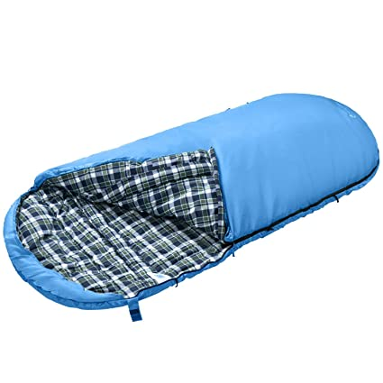 KingCamp Saco de Dormir Free Space 250 Extra Grande Extra Ancho 3 Estaciones Camping (Azul