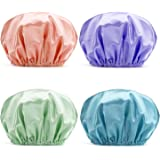 AmazerBath Shower Cap, 4-Pack Shower Caps for Women, Double Waterproof Layers Bathing Shower Hat Hair Protection EVA Shower C