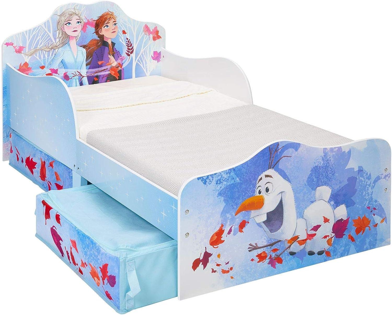 Worlds Apart Disney Frozen 2 Toddler Bed With Storage Kinder Flow Fibre Cot Mattress Included