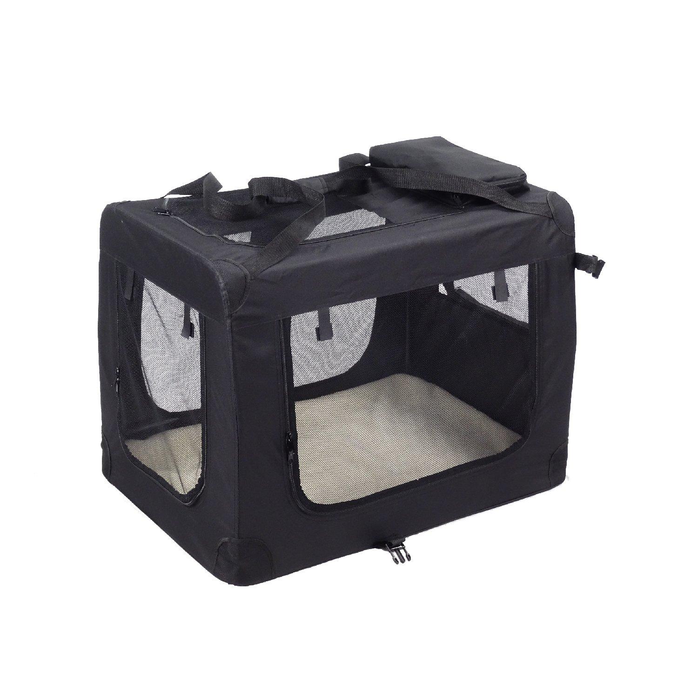 Kexing Sac de Transport Pliable pour Chien Chat Pet Chien Voiture Boîte Oxford Tissu Noir M