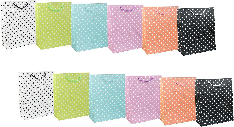 Pois Emartbuy Set di 12 Lusso Sacchetto Regalo Carta Laminata Forte Opaco Colori Misti 26 x 32 x 12 cm