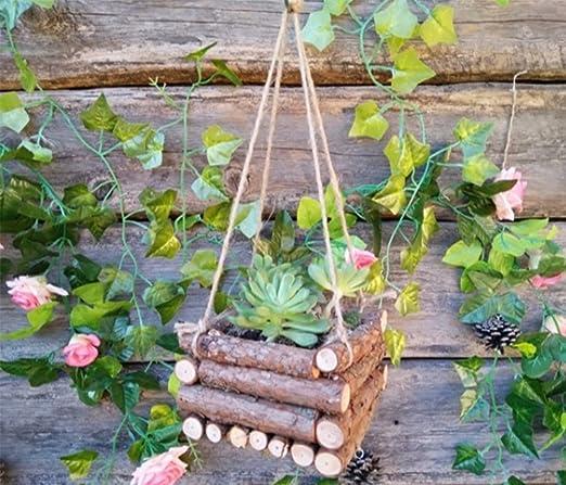 Amazon Com Imffse Wood Flowerpot Creative Diy Succulents Hanging