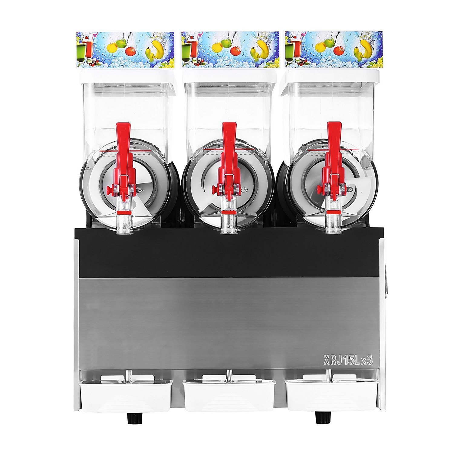 Happybuy 110V Commercial Slushy Machine 500W Stainless Steel Margarita Smoothie Frozen Drink Maker Suitable Perfect for Ice Juice Tea Coffee Making 15L x 3 Tank Sliver by Happybuy (Image #3)
