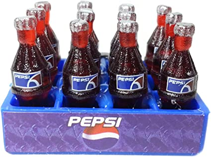 12 Pepsi Soda Soft Drink Bottles Tray Dollhouse Miniature Food Decor Collectible