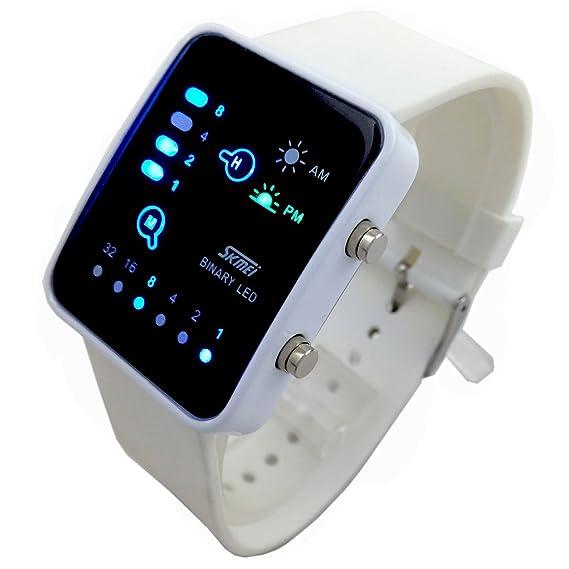 Reloj de pulsera para niños (binario, LED digital, impermeable, para