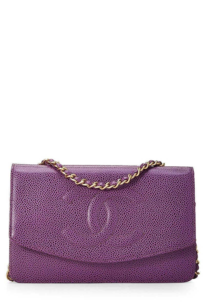 CHANEL Purple Caviar Timeless Classic Wallet on Chain (WOC) (Pre-Owned)