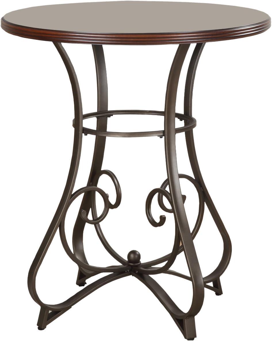 Brushed Faux Medium Cherry Wood;Matte Pewter /& Bronze Metal Powell 697-404 Hamilton Pub Table