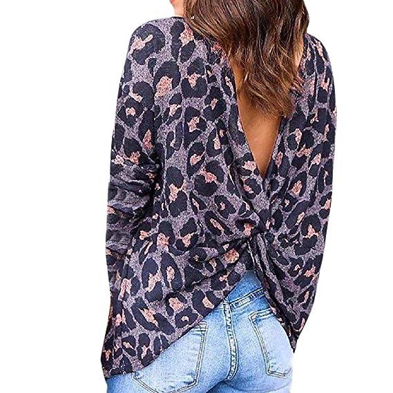 Yvelands Vestidos para Mujer Fiesta Boda Estampado Leopardo Camisa de Manga Larga Camiseta sin Mangas Blusa: Amazon.es: Ropa y accesorios