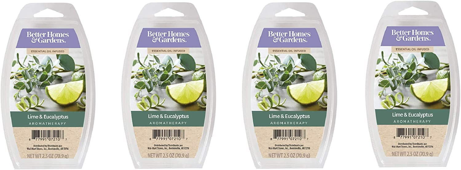 Better Homes & Gardens Aromatherapy Essential Oil Infused Wax Melts - 2.5 OZ - 4 Pack (Lime & Eucalyptus)