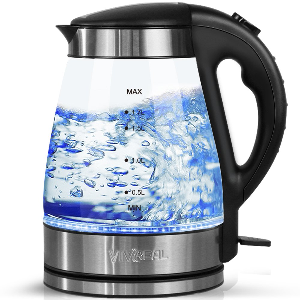 Kettles Electric Glass - 1.7L Blue LED Illuminated Kettle Stainless Steel Kettle, 2200W Quick Boil Cordless Electric Kettle with Auto Shut Off & Overheating Protection for Water Tea Make, Black VIVREAL