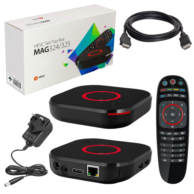 MAG 324 Original Infomir & HB-DIGITAL IPTV SET TOP BOX Multimedia Player  Internet TV IP Receiver (HEVC H 256 support) + HB Digital HDMI Cable