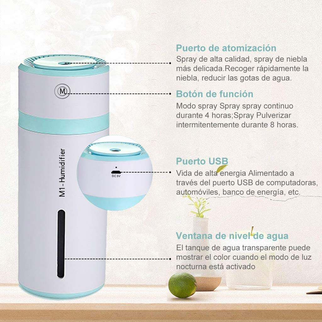 Humidificador de Vapor 240ml, Ultrasónico Mini Humidificador aire ...