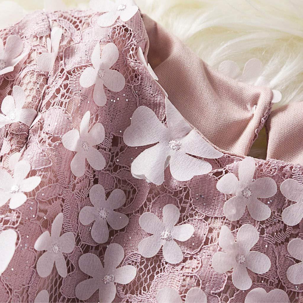 HEETEY Junge M/ädchen Mode l/ässig Winter warm Kind M/ädchen Spitze Blumenprinzessin Hochzeit Performance Formelle Kleidung Lang/ärmliges Blumenspitzenkleid