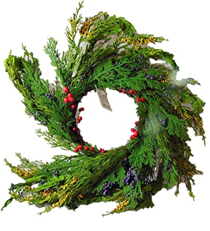 natural looking cedar and berry christmas candle ring 14 inch ring fits a 4 inch pillar - Decorative Christmas Candle Rings