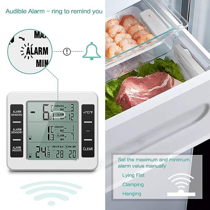 Oria Termómetro de refrigerador, inalámbrico digital, termómetro ...