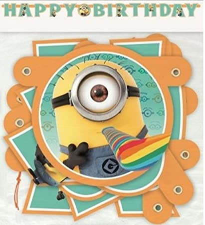 Amazon.com: Minion Despicable Me Cumpleaños Banner 6 ¼ ft ...