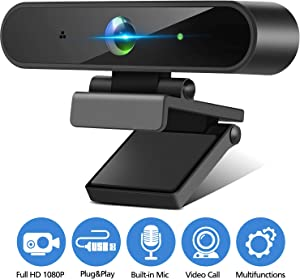1080P Webcam with Microphone Streaming Computer Web Camera Plug & Play, Full HD USB Computer Camera for PC Laptop Desktop Video Calling, Conferencing