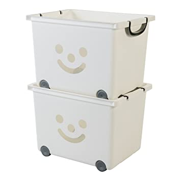 Iris Ohyama 135614 kcb-43 Smiley Kids Set de 2 Cubos de almacenaje sobre Ruedas plástico Blanco/Plata 50,5 x 30 x 40 cm: Amazon.es: Hogar