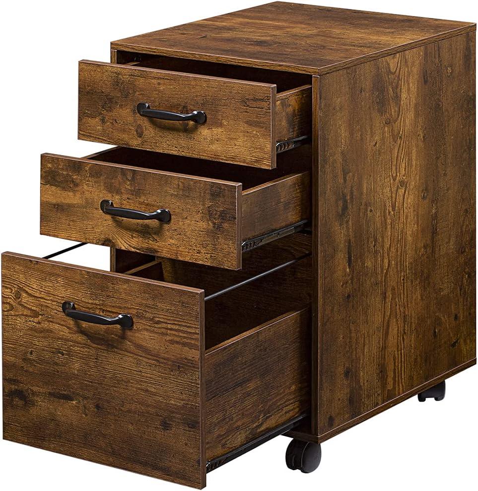 DINZI LVJ Rolling File Cabinet, 3 Drawer File Cabinet on Wheels, Mobile Office Cabinet for A4, Letter Size Files, Hanging File Folders, Under Desk Filing Cabinets for Home Office, Rustic Brown