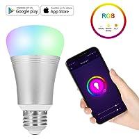 NEXGADGET Bombilla LED Wifi Inteligente Multicolor Smart Control de Voz RGB Smartphone App Control con Alexa y Google Hogar para la Decoración del Hogar, Escenario, Bar, Fiesta etc