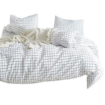 da9c0a2a83e530 Luofanfei Geometrisch Bettwäsche 135x200 cm Kariert 2 Teilig Karo Bettbezug  Schwarz und Weiß Muster Dessin Extra