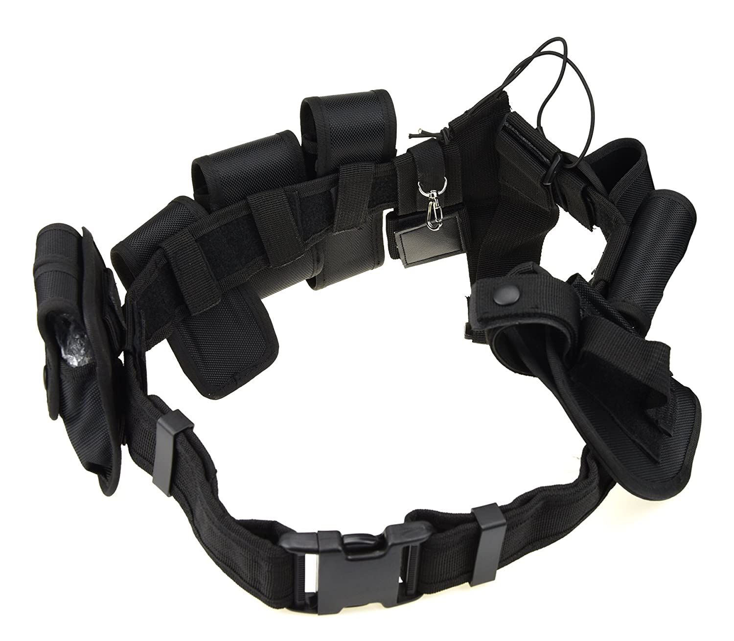 10pcs Tactical Duty Belt Police Guard Utility Kit Durable Removable Utility Equipment System// for Outdoor Security Black
