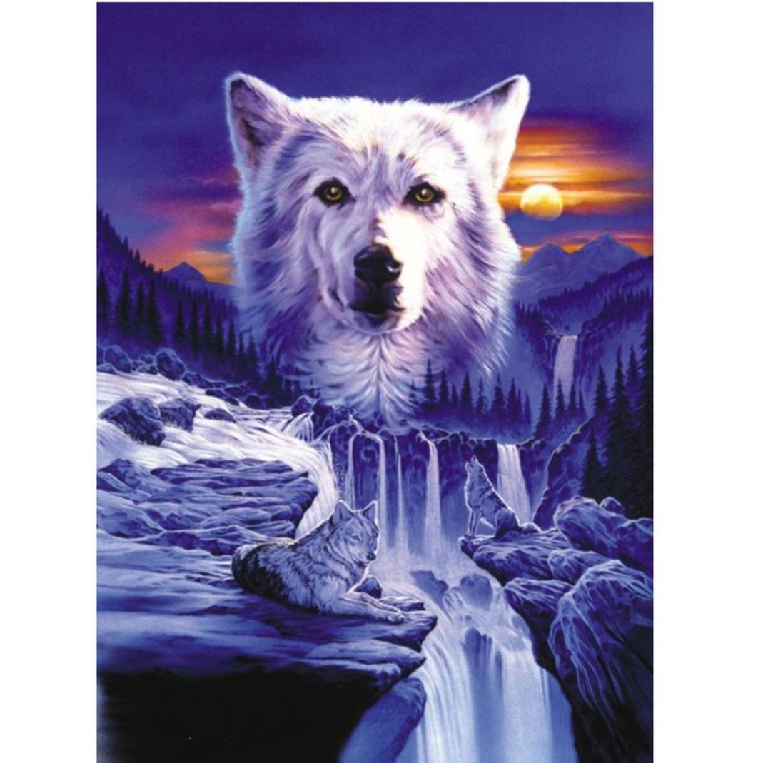 Staron Wolf 5D Diamond Painting A DIY Diamond Canvas Wall Art Decor Cross Stitch Kit Animals Crystal 5D Diamond Painting Embroidery Home Decor Craft