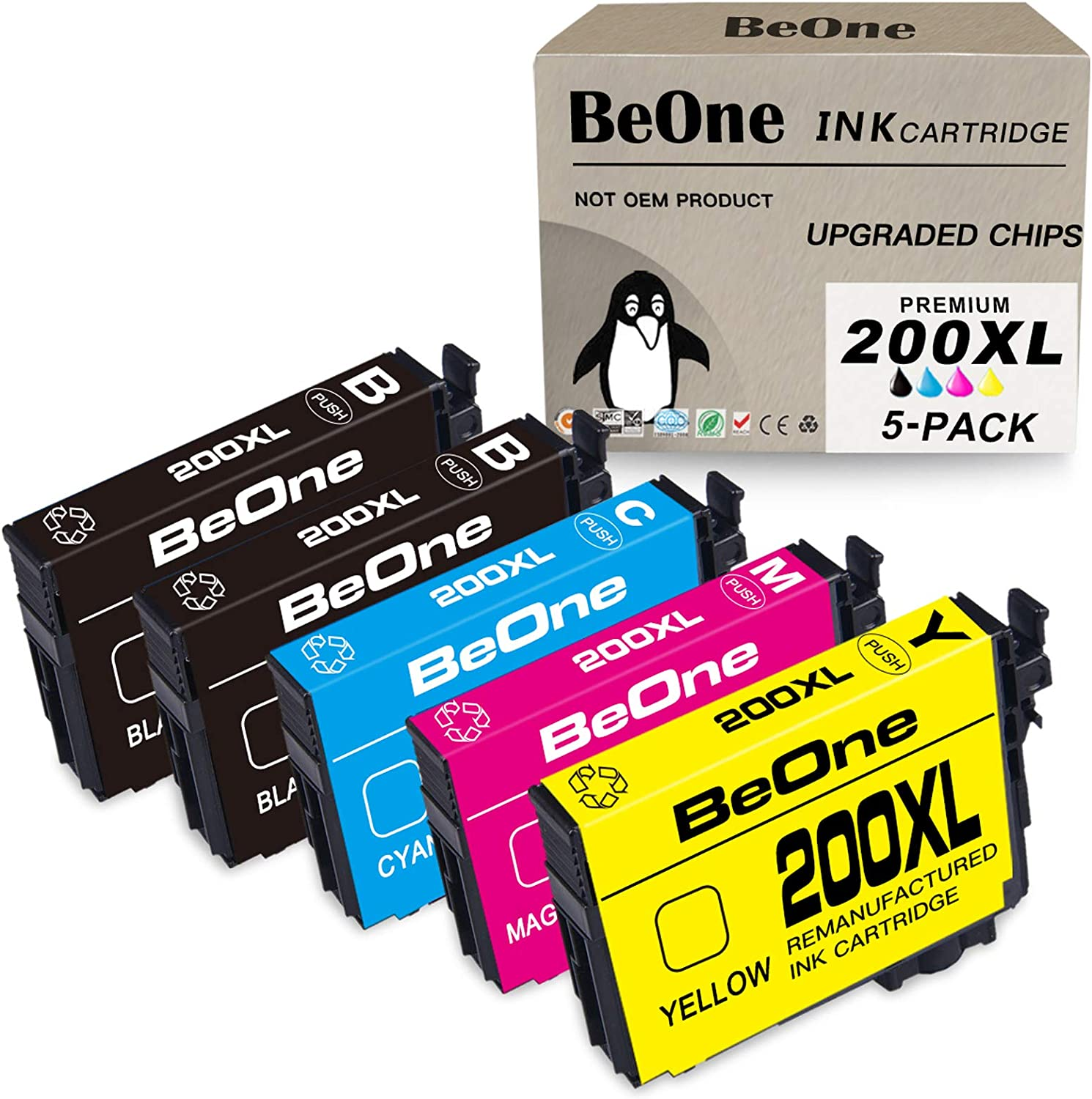 BeOne 200XL 5-Pack Remanufactured Ink Cartridge Replacement for Epson 200 XL T200 T200XL to Use with Expression Home XP-410 XP-400 XP-200 XP-310 XP-300 WorkForce WF-2540 WF-2530 WF-2520 (2BK 1C 1M 1Y)