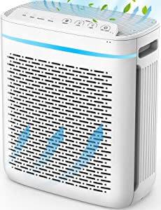 PUURVSAS HM637A Air Purifier for Home with Ture HEPA Filter, Air Cleaner for Large Room 300-320Sq.Ft, Advanced 3 in 1 Filter Purifier with 4 Speed Fans for Smoke, Dust, Pollen, Pet Dander, 25dB Quiet
