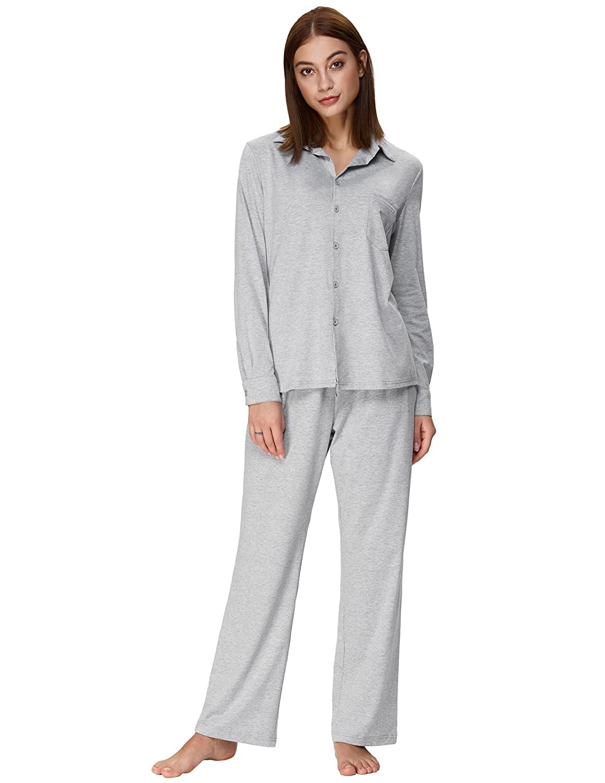 f79b92f02 Zexxxy Women's Cotton Pajama Set Long Button Down Sleepwear with Pants at Amazon  Women's Clothing store:
