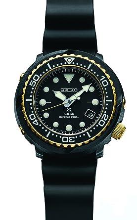 Amazon.com  Seiko Prospex Solar Dive Watch with Black Silicone Strap ... eda16368dc6f
