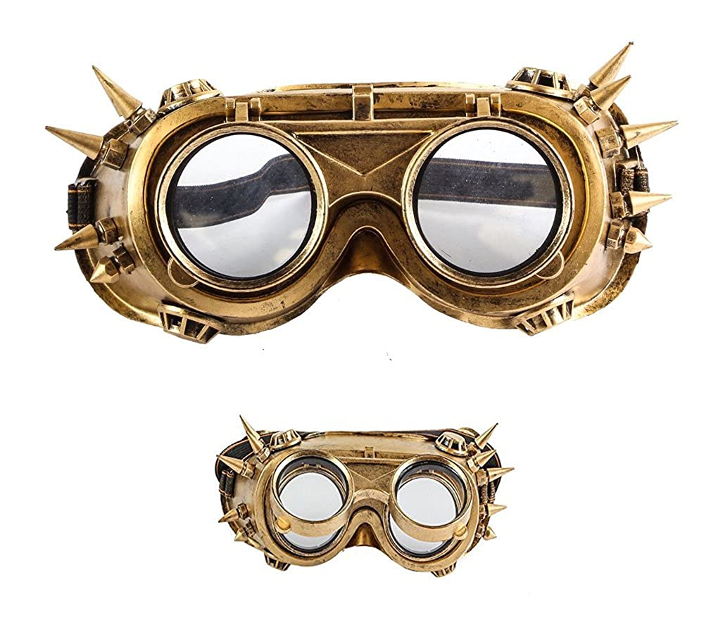 Faerynicethings Adult size Steampunk Flip Up Aviator Goggles with Spikes - 2 colors KBW PDM33225-Gd