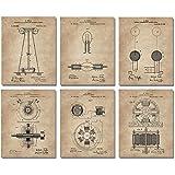 "Nikola Tesla Wall Art Patent Prints (8""x10"") Set of 6 - Engineer Gifts - Geek Home Decor"