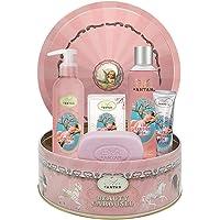 Badset för kvinnor: 1 duschgel/badskum 250 ml + 1 kroppsfuktighetskräm 200 ml + 1 ekologisk olja tvål 100 g + 1 handkräm…
