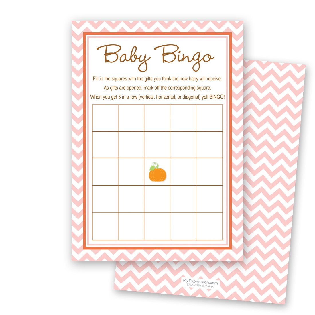 MyExpression.com 24 Cnt Little Pumpkin Pink Chevron Baby Shower Bingo Cards