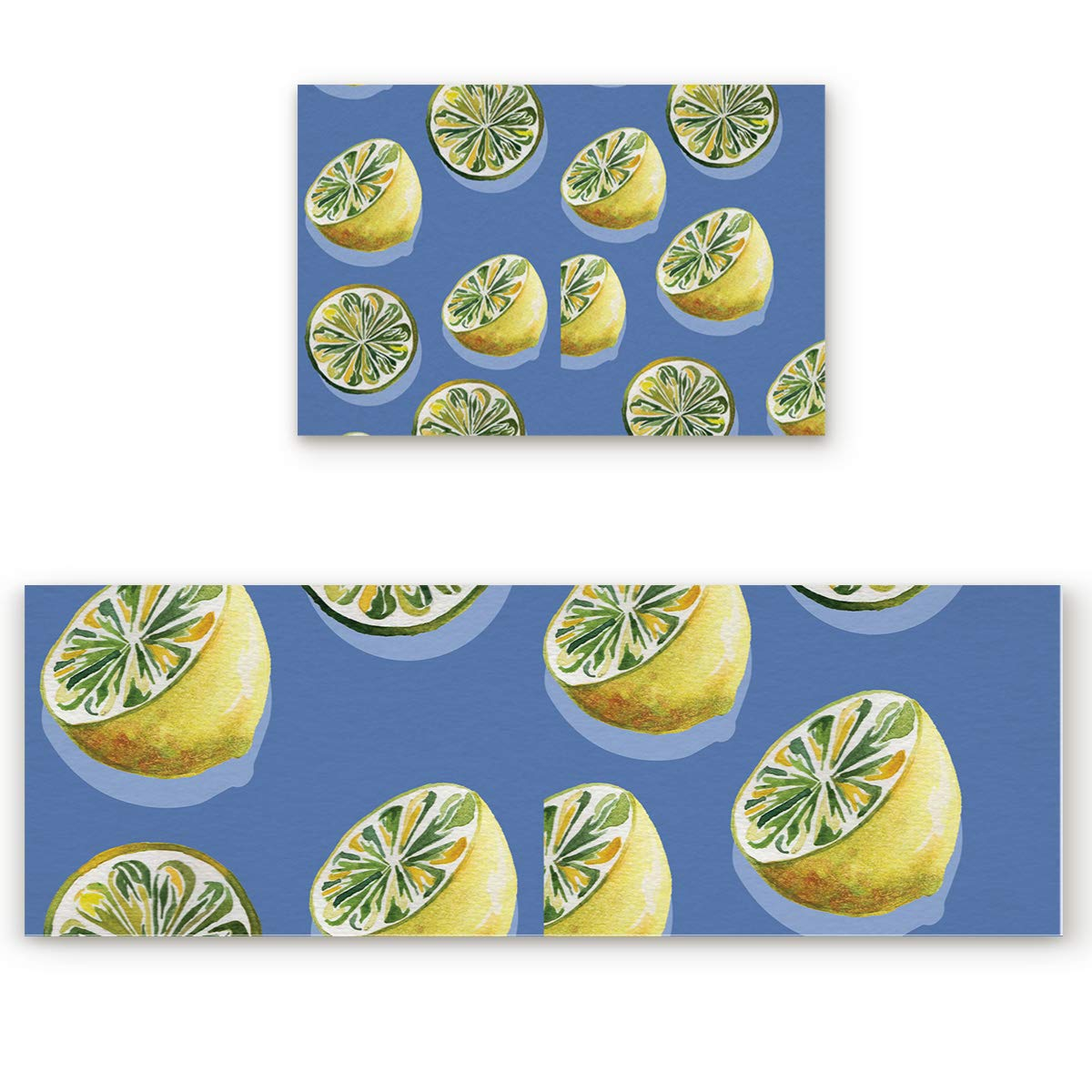 Fruits 4san5246 23.6 x35.4 +23.6 x70.9  Savannan 2 Piece Non-Slip Kitchen Bathroom Entrance Mat Absorbent Durable Floor Doormat Runner Rug Set - Pineapple