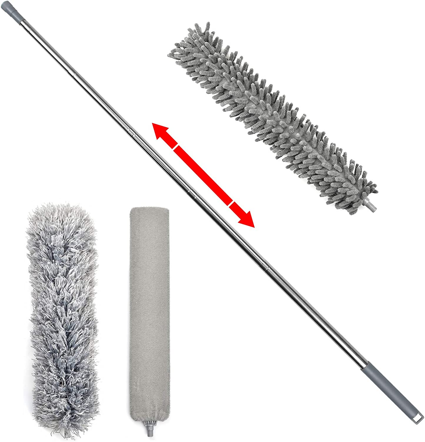 loteaf Feather Duster for Cleaning Kit 100 Inch High Reach Dusting Kit with Telescoping Pole Includes 3 Dusting Attachments, Microfiber Duster/Under Appliances Duster/Chenille Ceiling Fan Duster