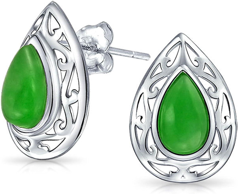Teñido De Verde Jade En Forma De Pera Pendiente De Boton De Filigrana De Plata Esterlina 925 Mujer 15Mm