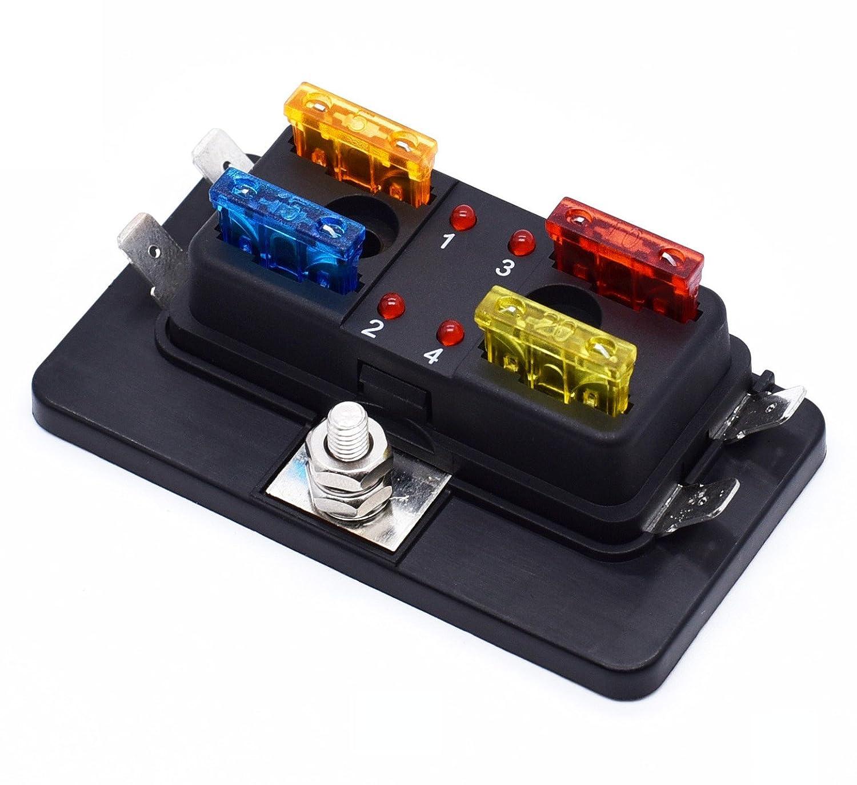 Fuse Block Audio Power Fuses Holder Stereo Distribution Block Box Digital Display KIMISS Car Power Fuses Holder 250A