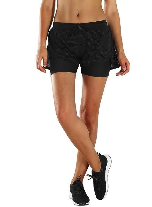 a7ee6cf7d5d1 HAINES Pantaloncini Running Donna Shorts Sportivi 2 in 1 Pantaloncini per  Palestra Fitness Yoga Calzoncini Sportivi