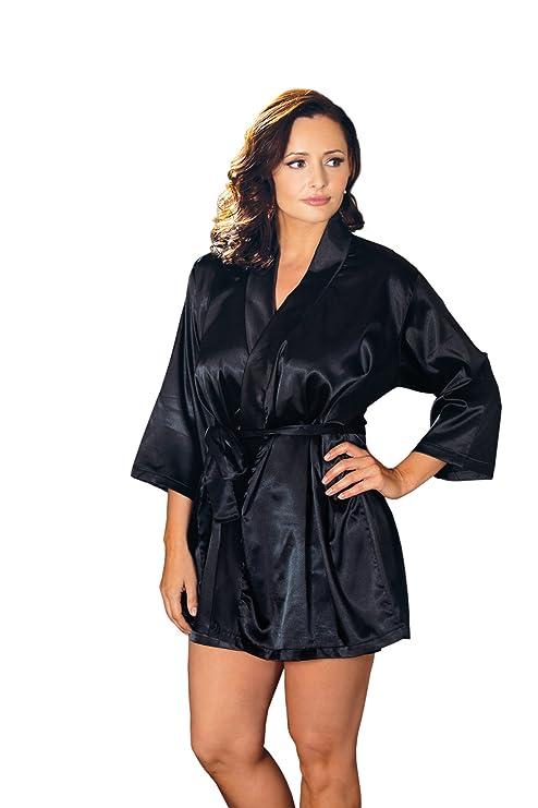 a4f9225e28113 iCollection Women s Plus-Size Satin Robe