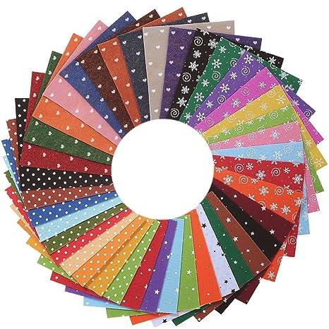 Erlliyeu Multicolore Felt Fabric DIY Hecho a mano de poliéster fieltro 40 colores (15 *
