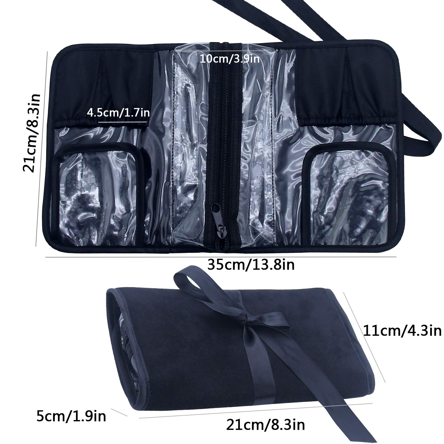 Makeup Brush Rolling Case Pouch Holder Cosmetic Bag Organizer Travel  Portable 18 Pockets Cosmetics Brushes Black a2e044d293114