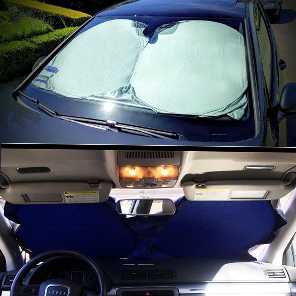 Hippo Pare Soleil Aluminium pour Voiture Pare Soleils pour Pare Brise Avant Auto 146*75cm Anti UV Argent