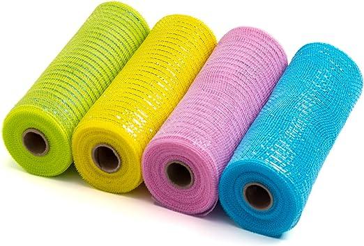 BlackSilver Metallic Thread 6 Deco Mesh Ribbons